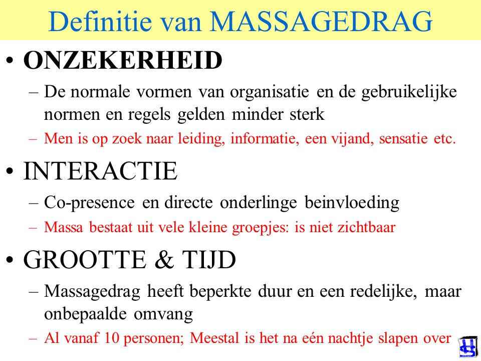 Definitie van MASSAGEDRAG