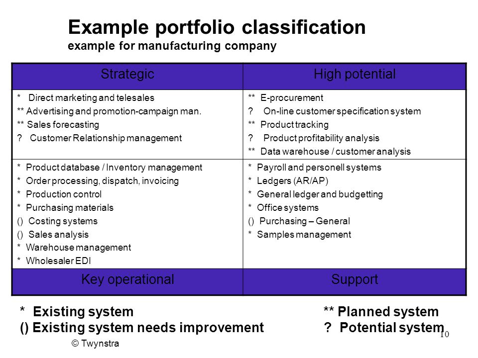 Example portfolio classification example for manufacturing company