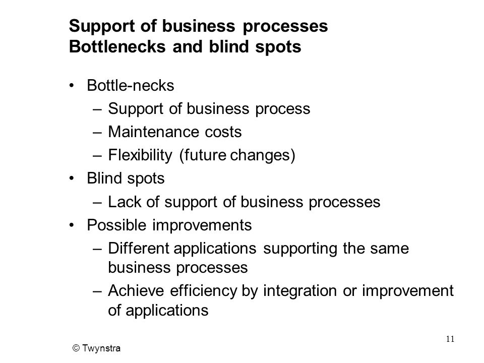 Support of business processes Bottlenecks and blind spots