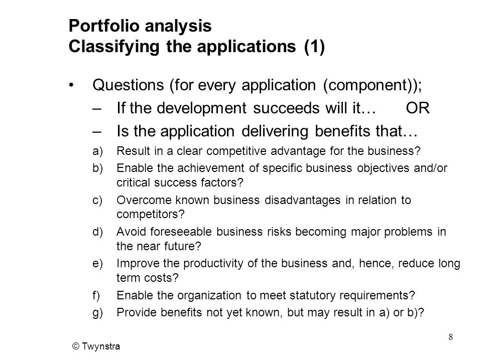 Portfolio analysis Classifying the applications (1)