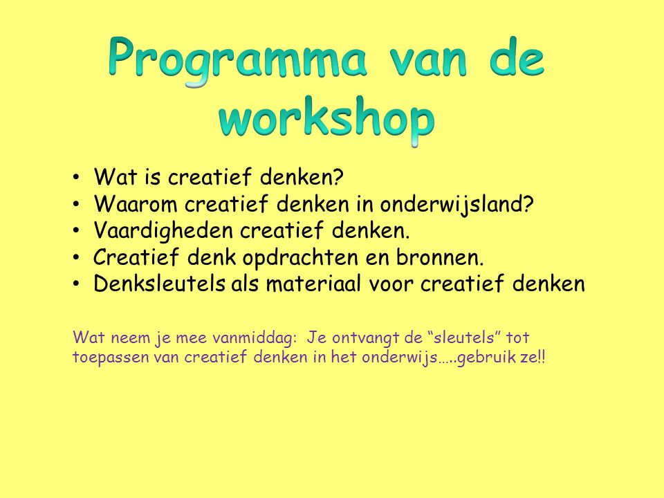 Programma van de workshop