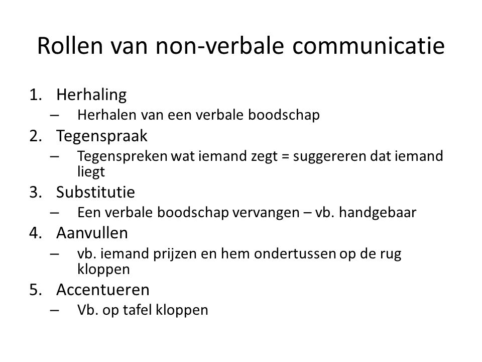 Rollen van non-verbale communicatie