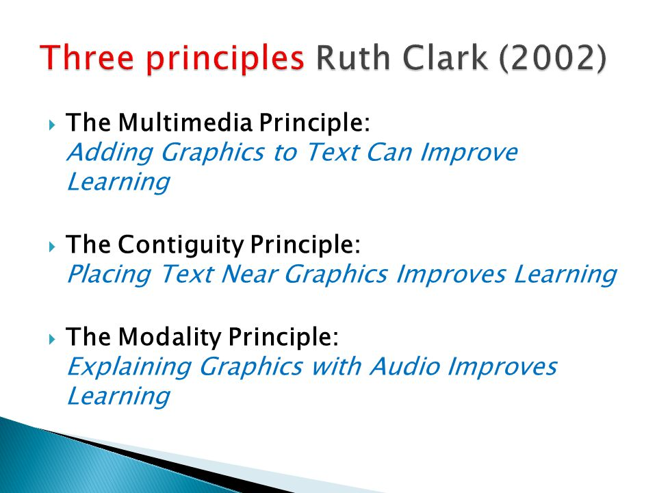 Three principles Ruth Clark (2002)