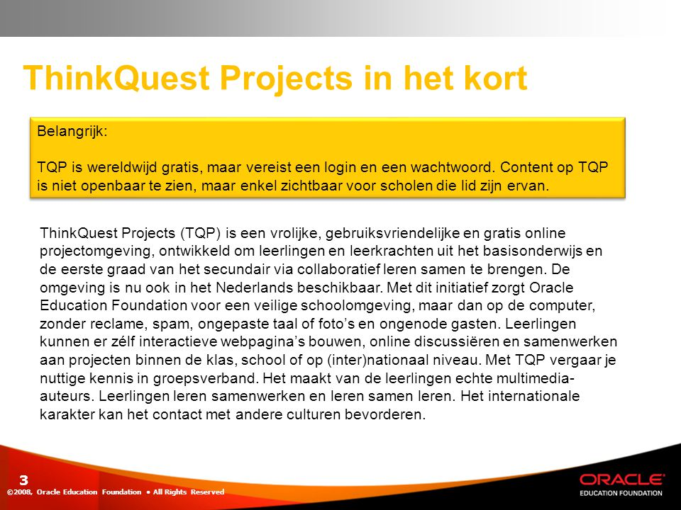 ThinkQuest Projects in het kort