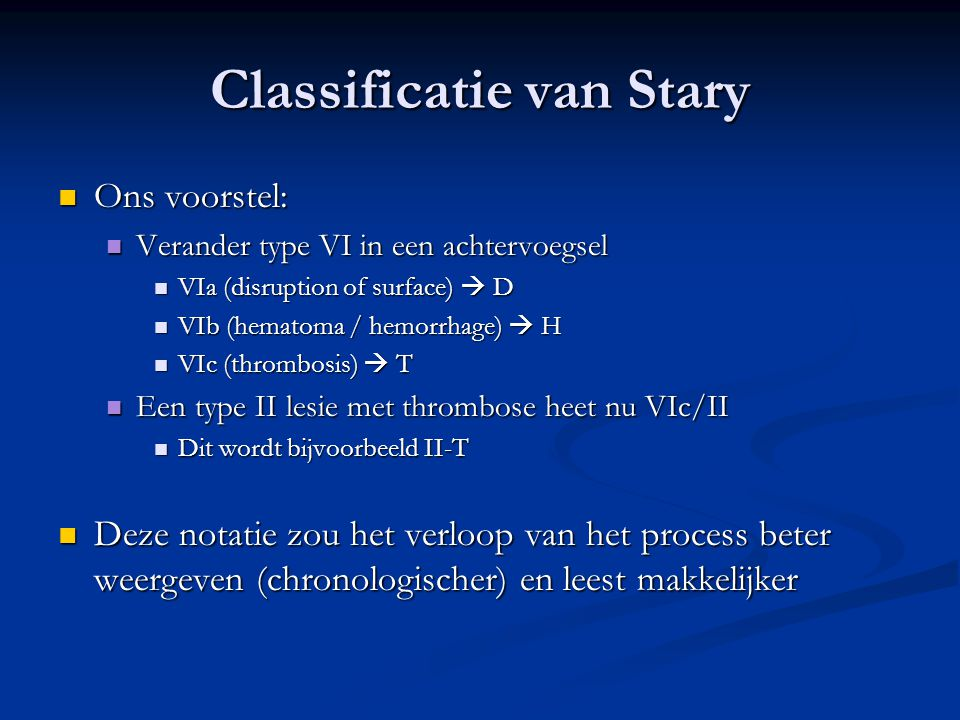 Classificatie van Stary