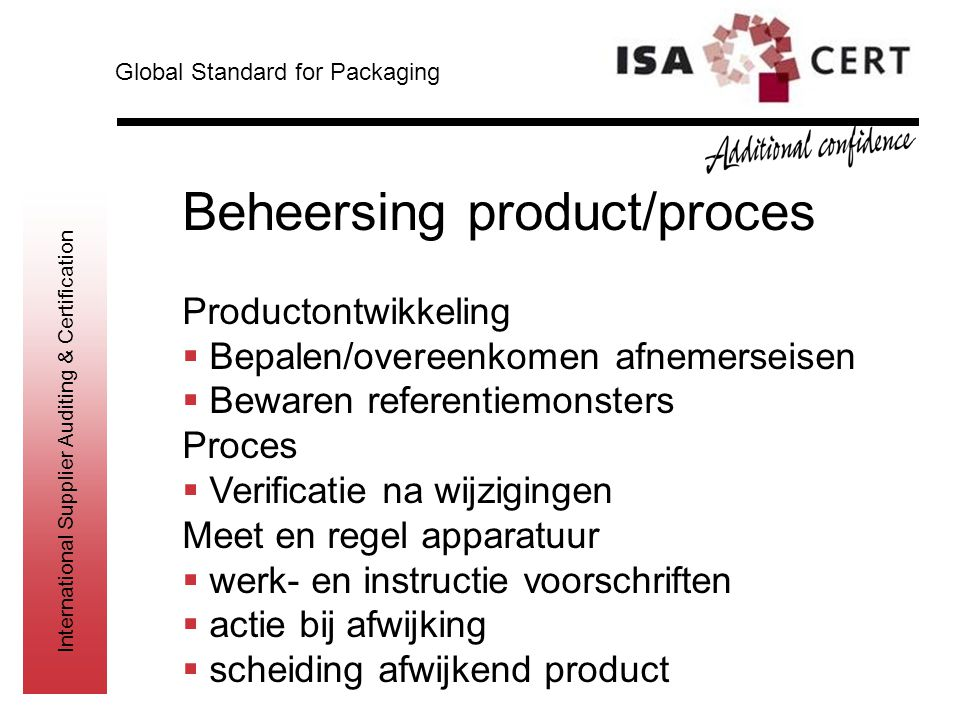 Beheersing product/proces