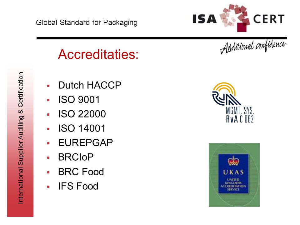 Accreditaties: Dutch HACCP ISO 9001 ISO 22000 ISO 14001 EUREPGAP