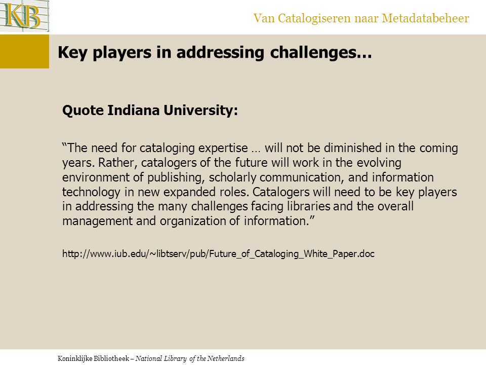 Key players in addressing challenges…