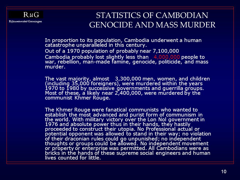 STATISTICS OF CAMBODIAN GENOCIDE AND MASS MURDER