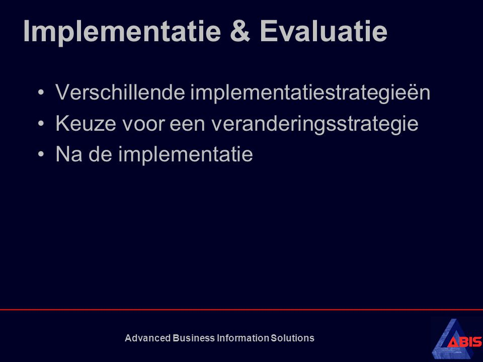 Implementatie & Evaluatie