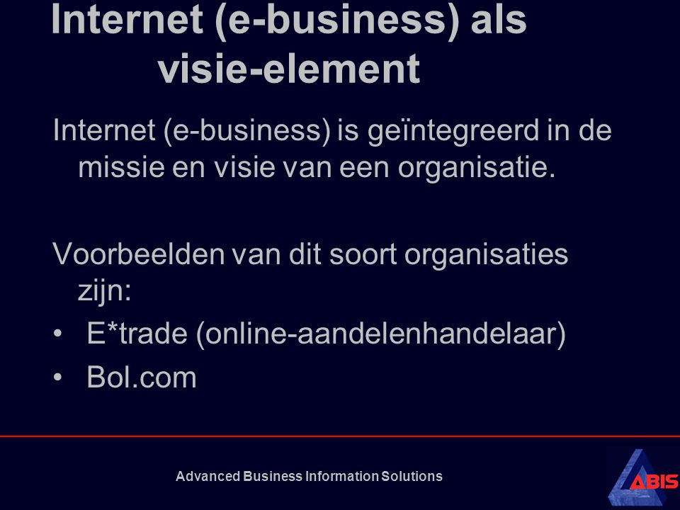 Internet (e-business) als visie-element