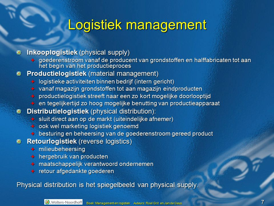 Logistiek management Inkooplogistiek (physical supply)