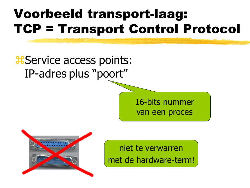 Voorbeeld transport-laag: TCP = Transport Control Protocol