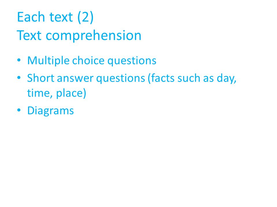 Each text (2) Text comprehension