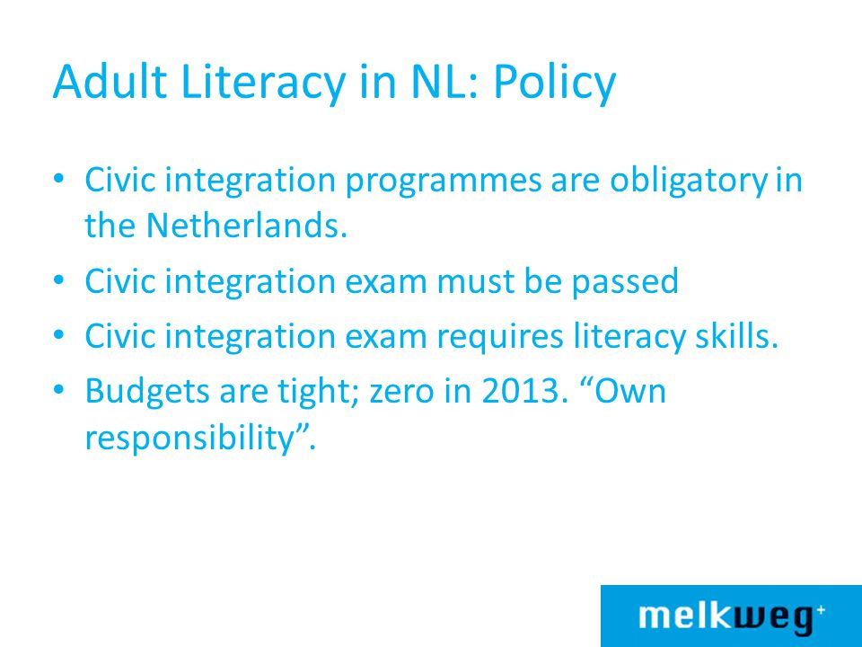 Adult Literacy in NL: Policy