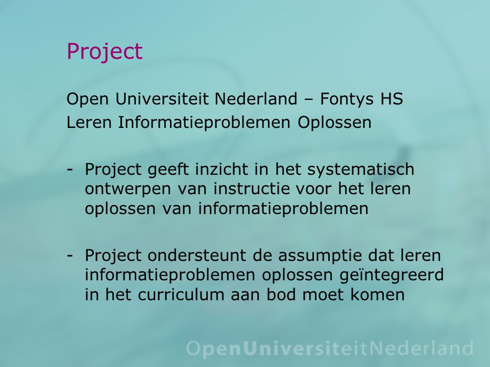 Project Open Universiteit Nederland – Fontys HS
