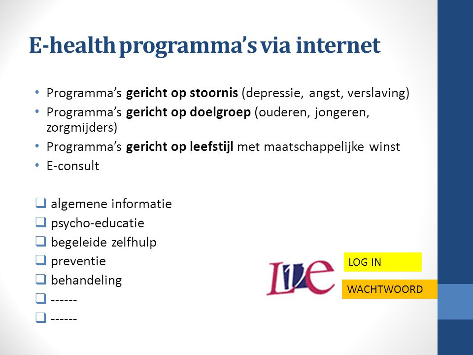 E-health programma's via internet
