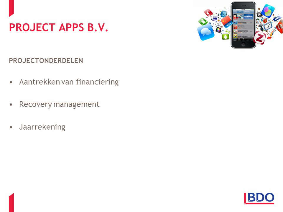 PROJECT APPS B.V. Aantrekken van financiering Recovery management