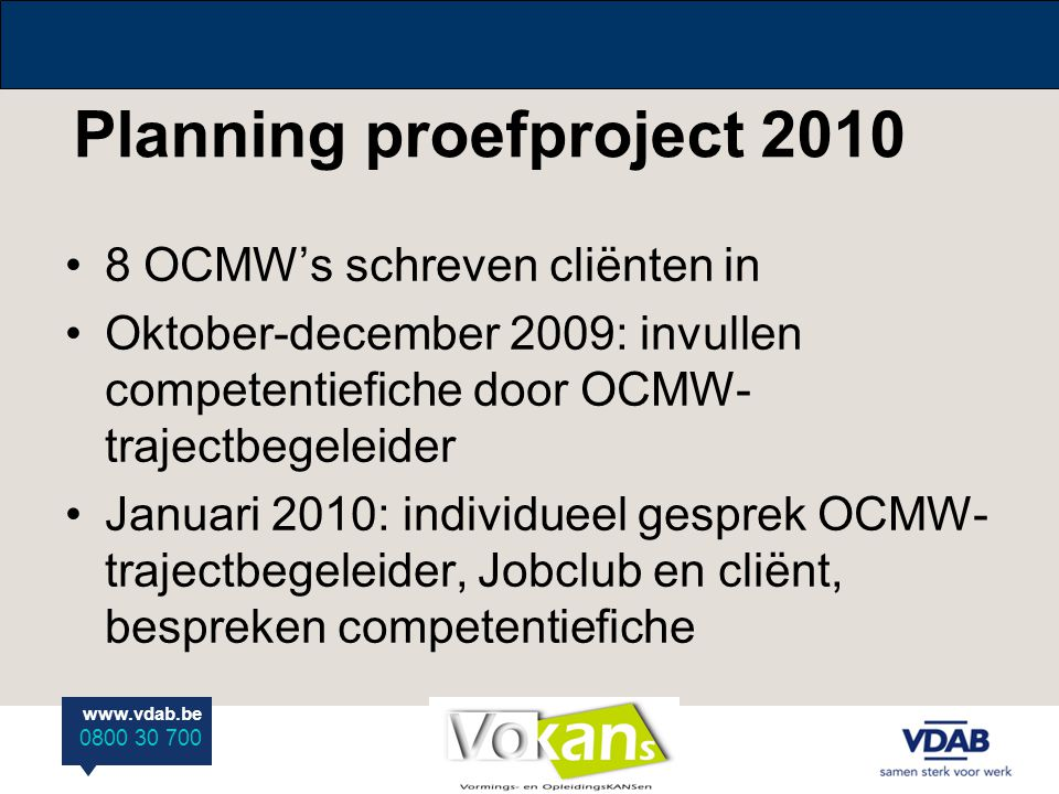 Planning proefproject 2010