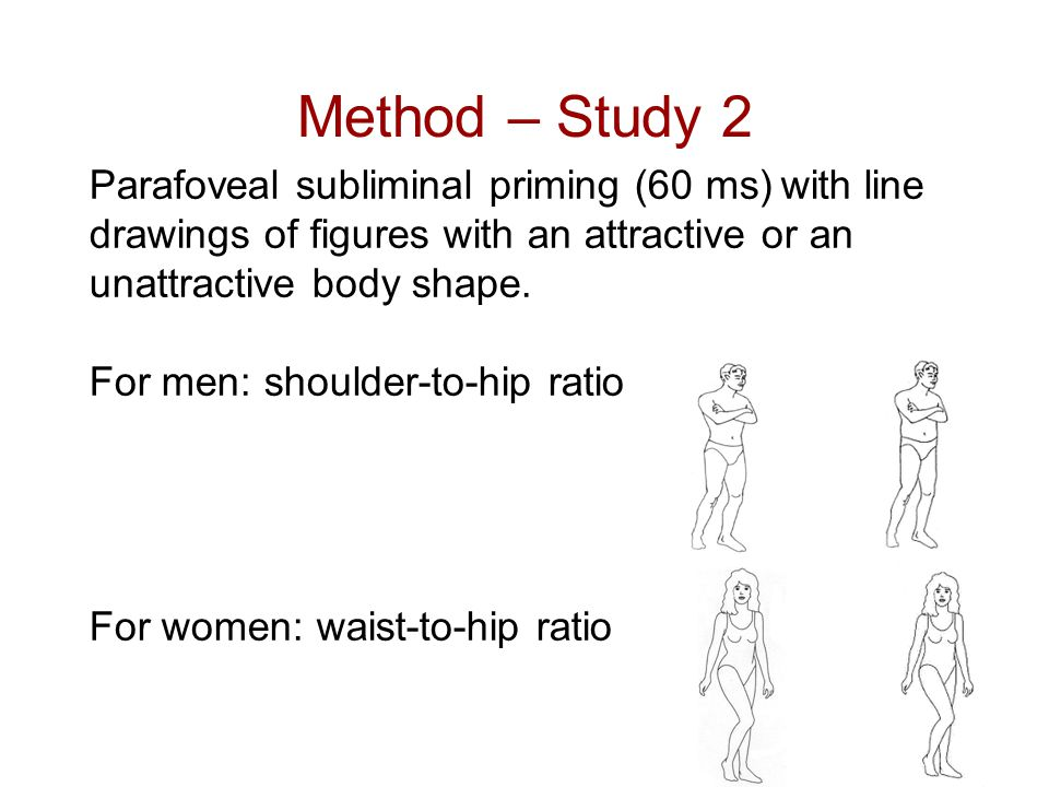 Method – Study 2 Parafoveal subliminal priming (60 ms) with line drawings of figures with an attractive or an unattractive body shape.