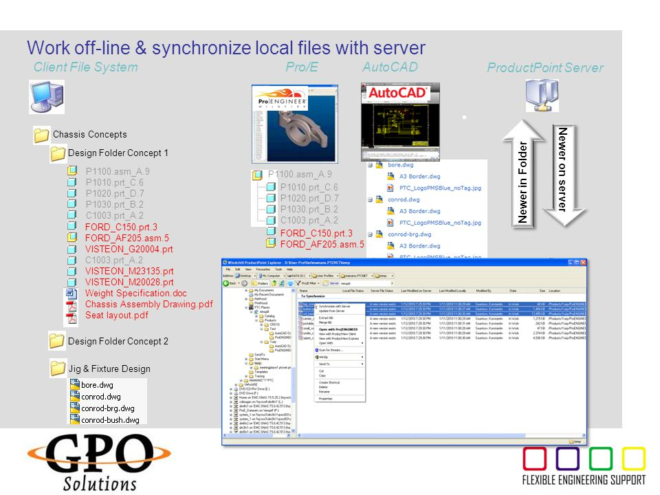 Work off-line & synchronize local files with server