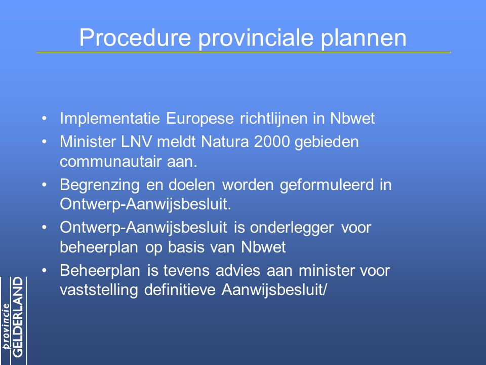 Procedure provinciale plannen