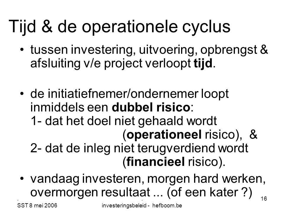 Tijd & de operationele cyclus