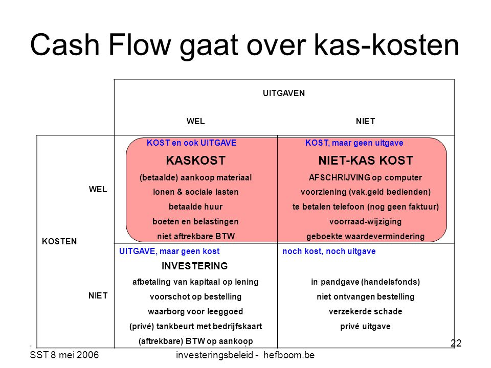 Cash Flow gaat over kas-kosten