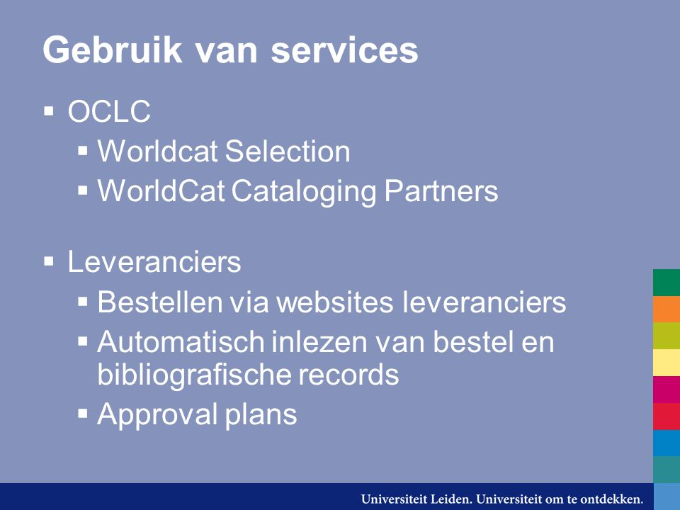 Gebruik van services OCLC Worldcat Selection