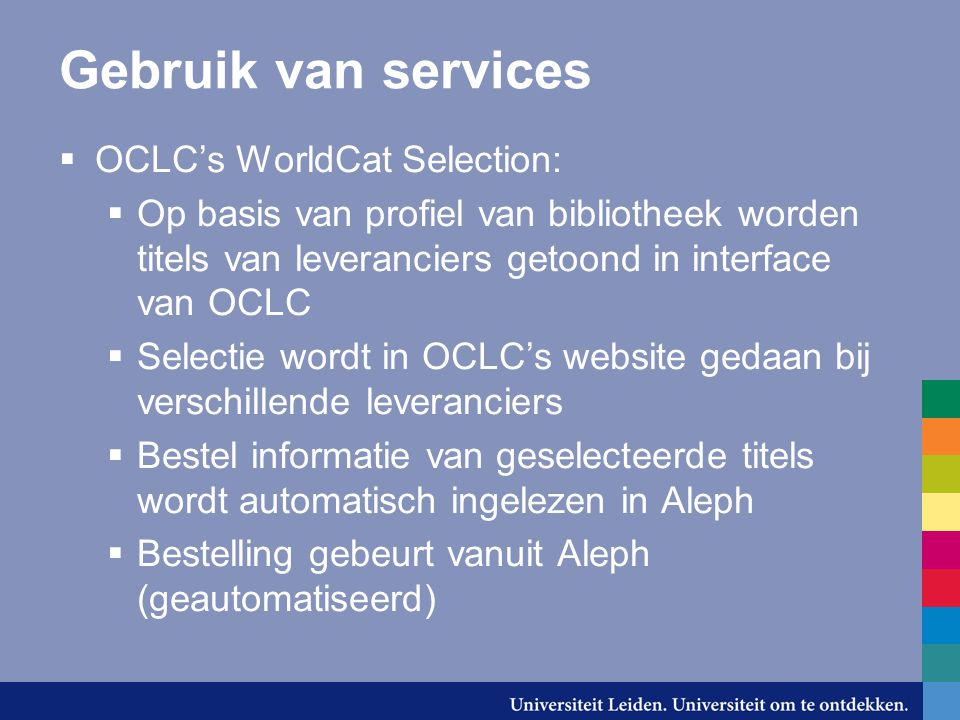 Gebruik van services OCLC's WorldCat Selection: