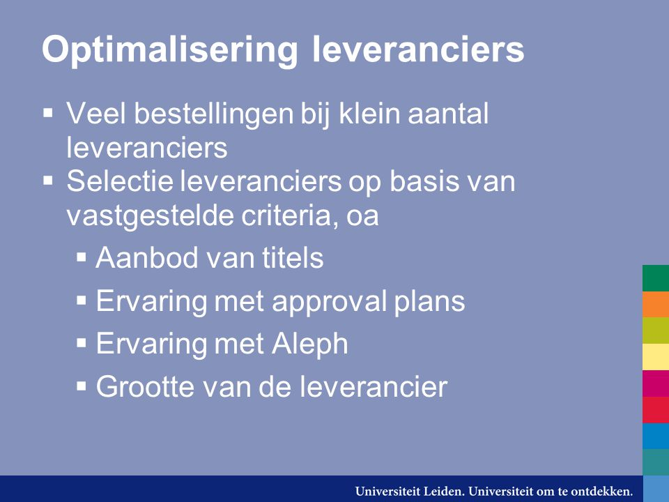 Optimalisering leveranciers