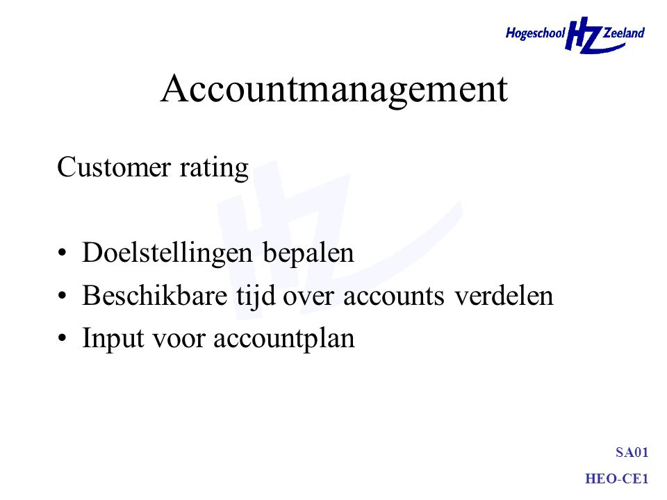 Accountmanagement Customer rating Doelstellingen bepalen