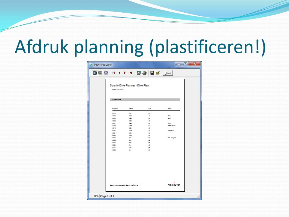 Afdruk planning (plastificeren!)