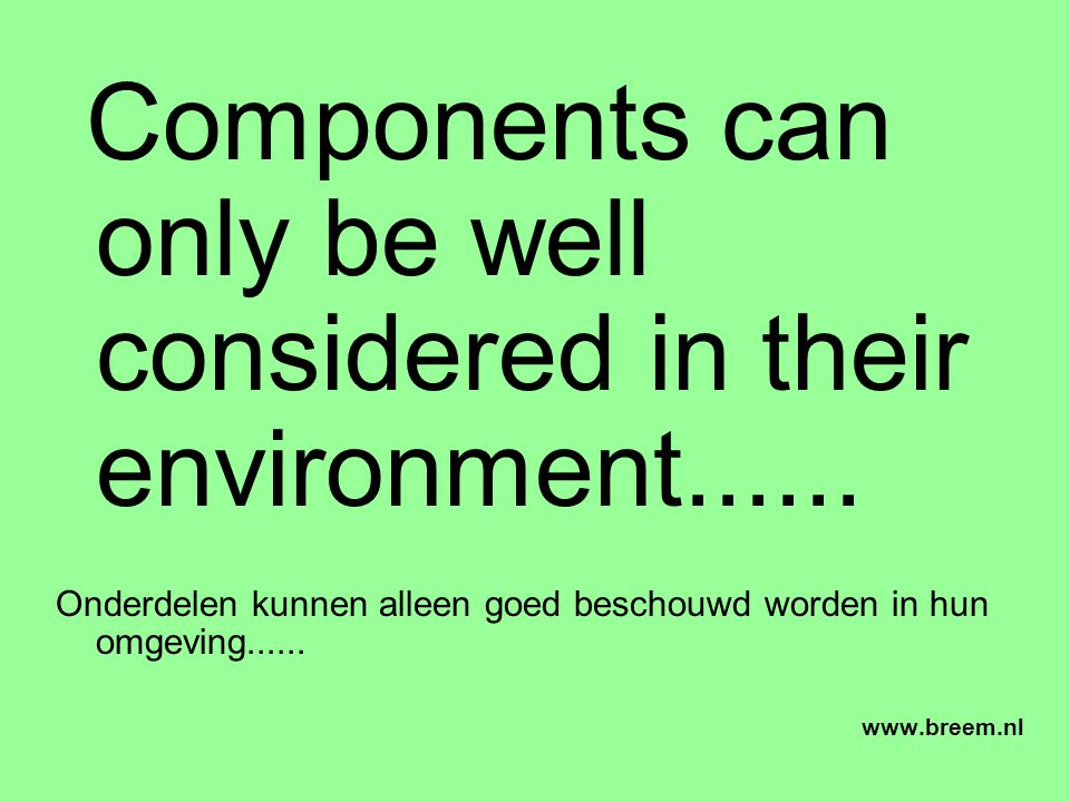 Components can only be well considered in their environment......