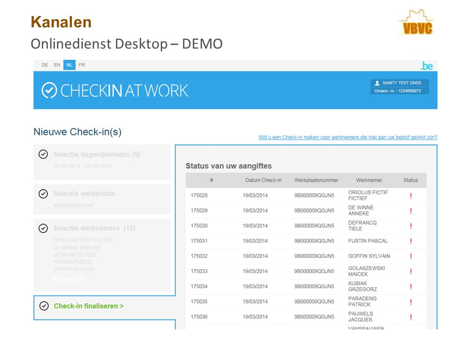 Kanalen Onlinedienst Desktop – DEMO