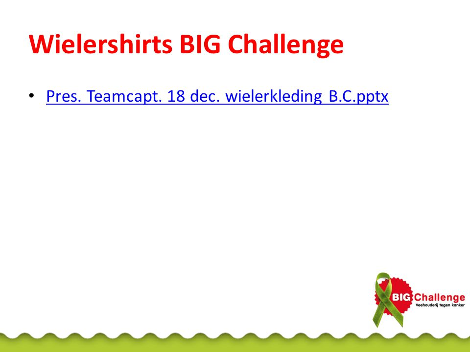Wielershirts BIG Challenge