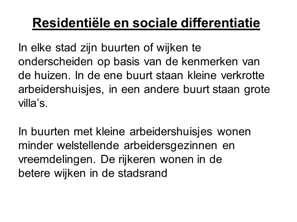 Residentiële en sociale differentiatie