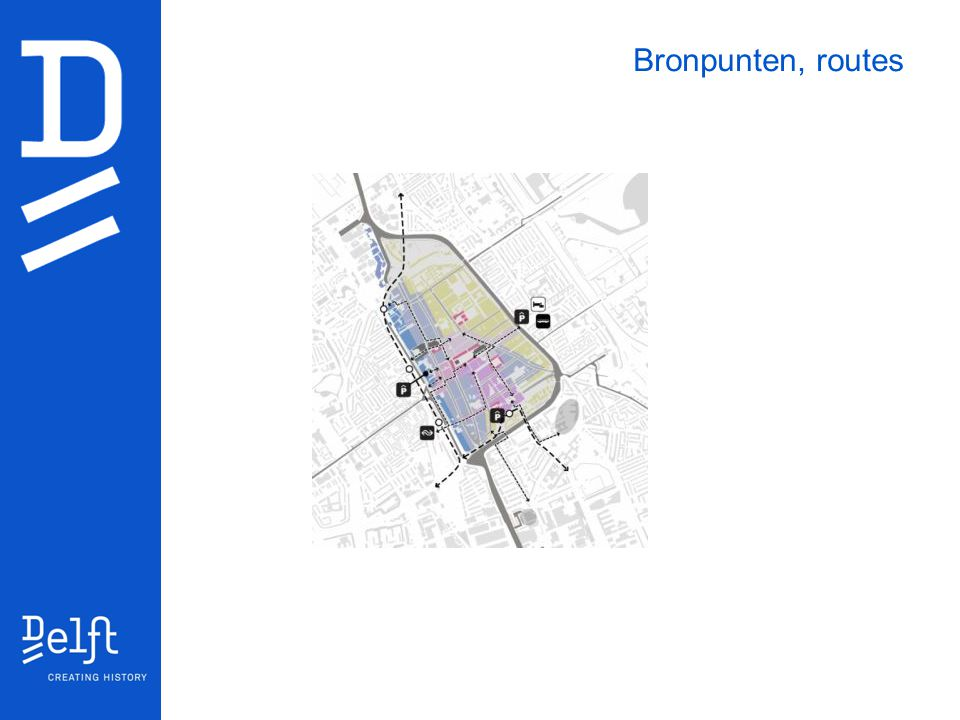 Bronpunten, routes