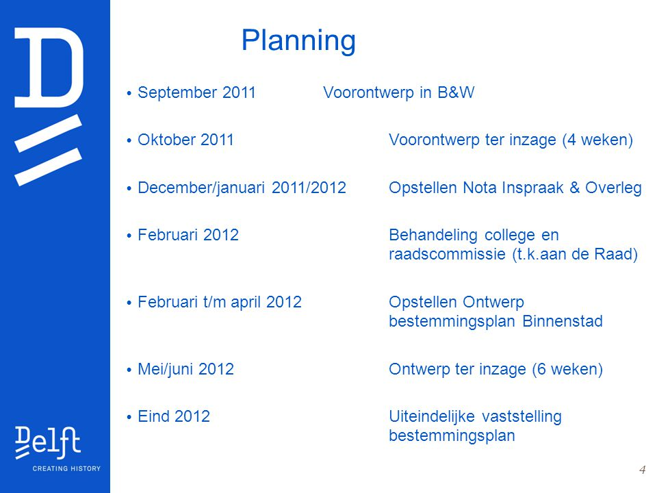Planning September 2011 Voorontwerp in B&W