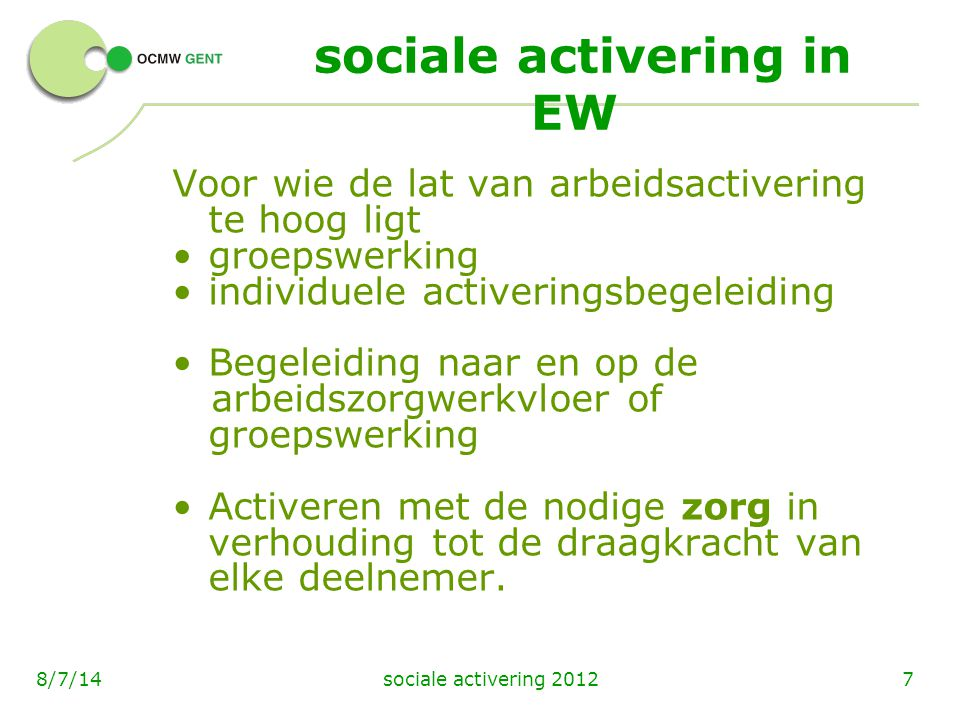 sociale activering in EW