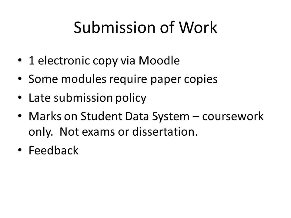 Submission of Work 1 electronic copy via Moodle
