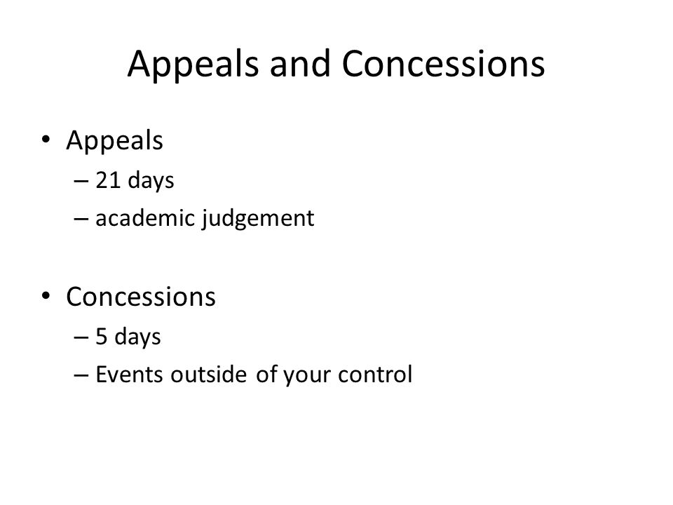 Appeals and Concessions