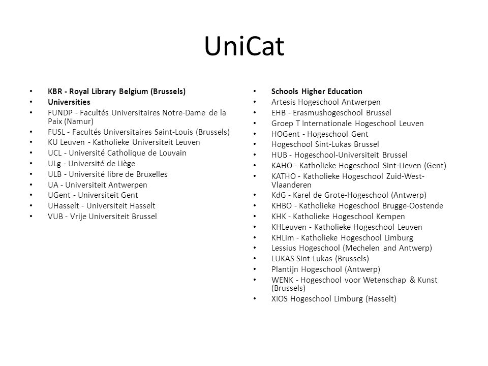 UniCat KBR - Royal Library Belgium (Brussels) Universities