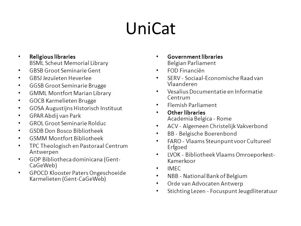 UniCat Religious libraries BSML Scheut Memorial Library