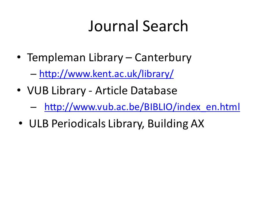 Journal Search Templeman Library – Canterbury