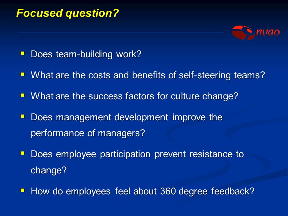 Focused question Does team-building work