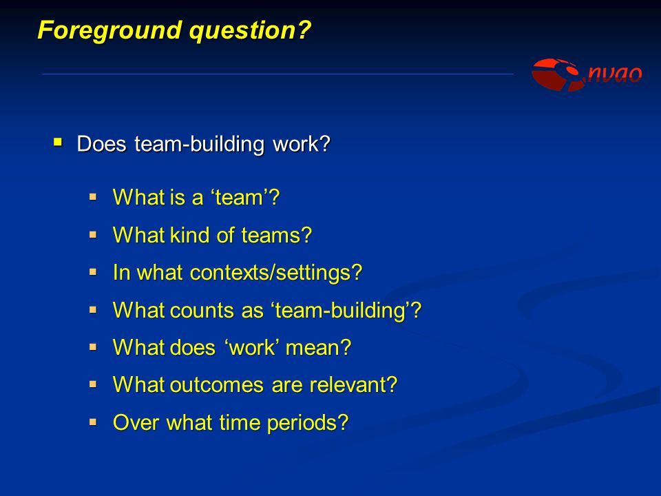 Foreground question Does team-building work What is a 'team'