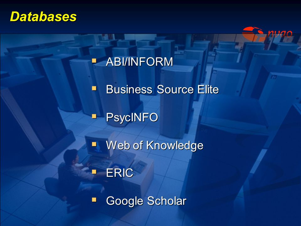 Databases ABI/INFORM Business Source Elite PsycINFO Web of Knowledge
