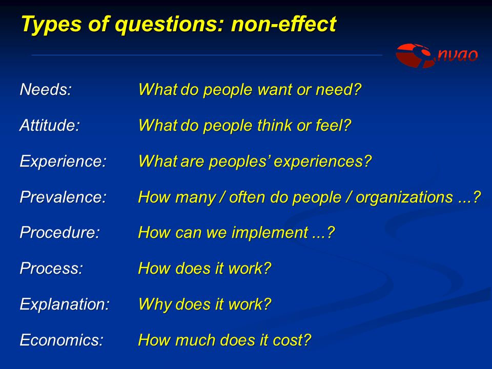 Types of questions: non-effect