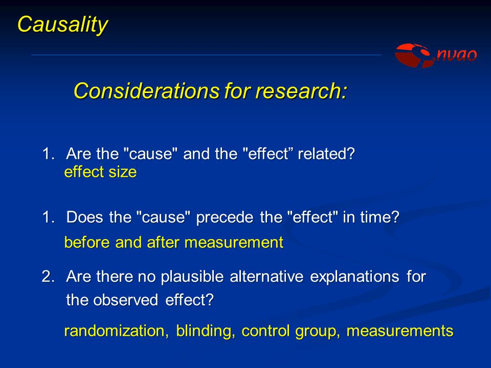Considerations for research: